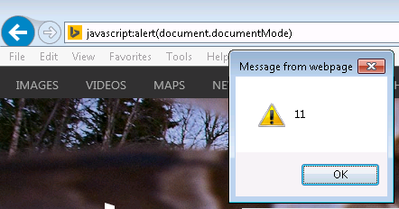 Alert document mode value from address bar
